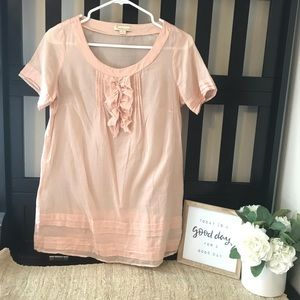 Forever21 Pink Ruffle-Top Blouse